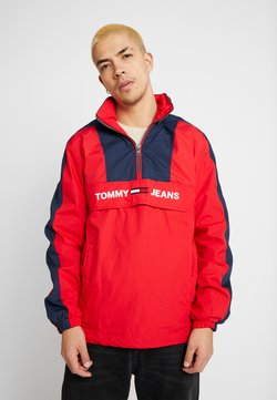 Tommy Jeans - COLORBLOCK POPOVER - Windbreaker - racing red/black iris