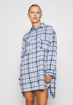 Missguided - OVERSIZED DRESS CHECK - Freizeitkleid - powder blue