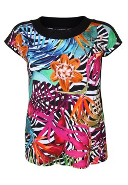 DORIS STREICH - SHIRT MIT FLORALEM MUSTER - T-Shirt print - turquoise