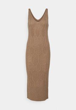 pure cashmere - MAXI SLEEVELESS PATTERNED DRESS - Vestido de punto - dark beige