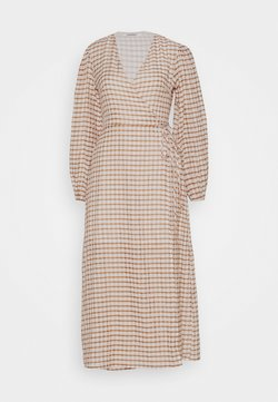 Glamorous - LONG SLEEVE WRAP DRESS WITH V NECK - Day dress - brown/cream