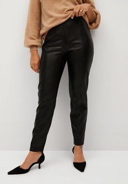 Violeta by Mango - POLI - Leather trousers - black