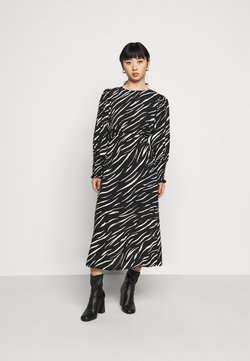 New Look Petite - SHIRRED DETAIL ZEBRA MIDI DRESS - Freizeitkleid - black