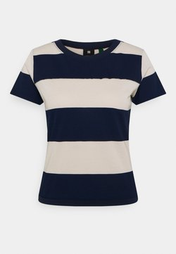 G-Star - WIDE STRIPE TEE - T-Shirt print - whitebait/sartho blue rugby