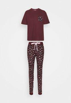 Boux Avenue - LEOPARD TEE AND LEGGING - Pyjama - burgundy