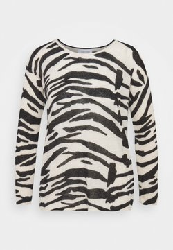 Calvin Klein - BLEND ZEBRA SWEATER - Strickpullover - black / white