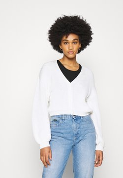 NA-KD - VOLUME SLEEVE BUTTONED CARDIGAN - Gilet - white