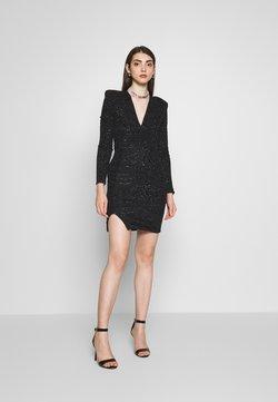 Club L London - PLUNGE SPARKLE MINI DRESS WITH THIGH SPLIT - Vestido de cóctel - black