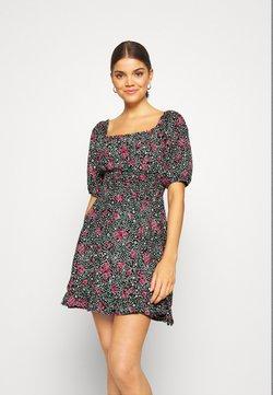 Miss Selfridge - SQUARE NECK SHIRRED DRESS - Freizeitkleid - multi-coloured