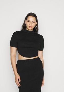Missguided Plus - CURVED HEM  - T-shirt imprimé - black
