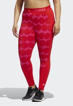 adidas Performance - TURF MARIMEKKO TRAINING WORKOUT AEROREADY PRIMEGREEN TECHFIT LEGGINGS COMPRESSION - Legginsy - vivid red