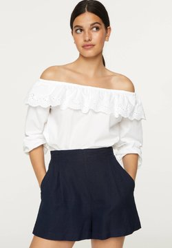 OYSHO - OFF-THE-SHOULDER BRODERIE ANGLAISE TOP - Top - white