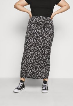 CAPSULE by Simply Be - LEOPARD PRINT TUBE SKIRT - Minirock - black/grey