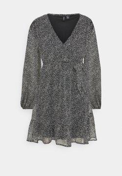 Vero Moda Petite - VMHIBISCUS WRAP TIE DRESS - Day dress - black/snow white