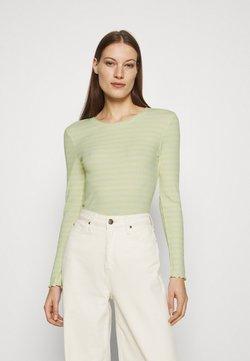 Selected Femme - SLFANNA CREW NECK TEE - Langarmshirt - young wheat/snow white