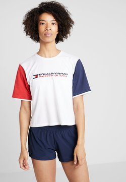 Tommy Sport - TEE COLORBLOCK LOGO - T-Shirt print - white