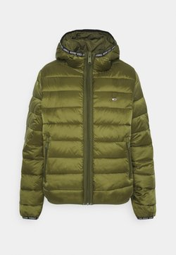 Tommy Jeans - QUILTED TAPE HOODED JACKET - Winterjacke - northwood olive