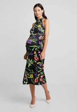 True Violet Maternity - TRUE HIGH NECK MIDI BODYCON WITH PEPLUM - Etui-jurk - black