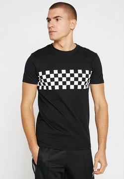 Urban Classics - CHECKPANEL - T-Shirt print - black/white