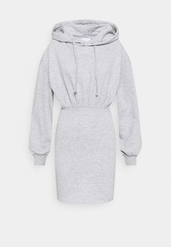 Topshop - SHORT HOODED DRESS - Freizeitkleid - grey