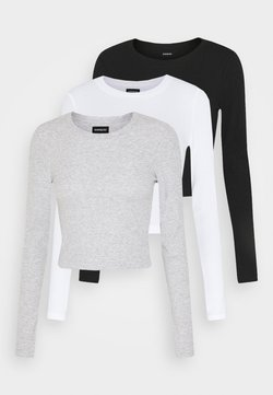 Even&Odd - 3 PACK - Langarmshirt - black/white/light grey