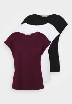 Anna Field - 3 PACK - T-shirt basic - black/white/dark red
