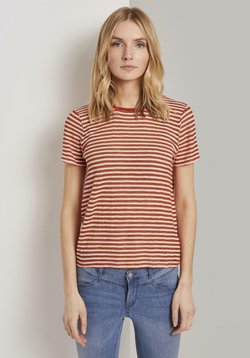 TOM TAILOR - T-Shirt print - orange offwhite stripes