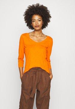 Marc O'Polo - SLEEVE ROUNDED NECK STITCHING DETAIL - Langarmshirt - sunbaked orange
