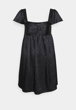 Missguided - CAP SLEEVE POLKA DOT MINI DRESS - Freizeitkleid - black