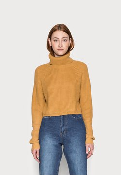 Missguided Tall - ROLL NECK BATWING CROP JUMPER - Strickpullover - camel