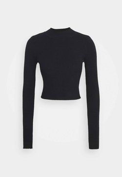 Glamorous Tall - CROPPED JUMPER WITH LONG SLEEVES AND HIGH ROUND NECKLINE - Trui - black