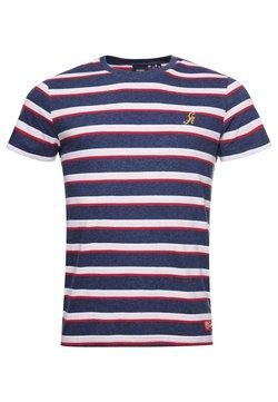 Superdry - COLLEGIATE APPLIQUE - T-Shirt print - navy marl stripe