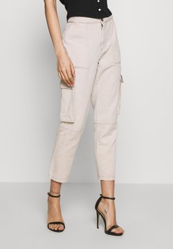 Noisy May - NMELLEN LOOSE UTILITY PANT - Relaxed fit jeans - beige