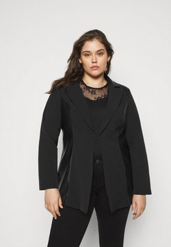 CAPSULE by Simply Be - PU BLAZER - Kurzmantel - black
