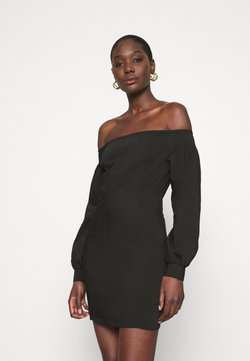 Who What Wear - OFF THE SHOULDER MINI DRESS - Freizeitkleid - black