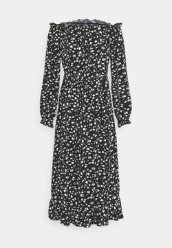 Missguided Tall - FLORAL BELTED FRILL HEM DRESS - Day dress - black
