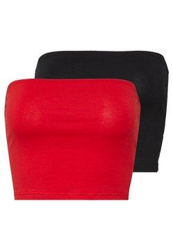 Glamorous - BANDEAU CROP TUBE 2 PACK - Toppi - black/red