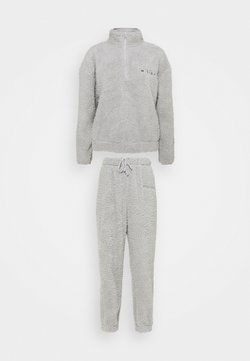Missguided - BORG HALF ZIP HOODIE JOGGERS - Sweatshirt - grey