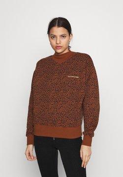 Colourful Rebel - LEOPARD LOOSE FIT HIGH NECK GINGER BREAD - Sweatshirt - brown