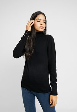 Dorothy Perkins Tall - BUTTON CUFF ROLL NECK - Neule - black