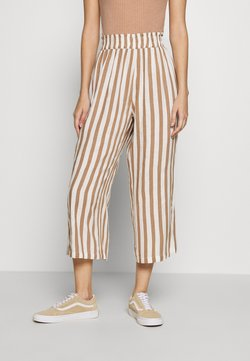 ONLY - ONLASTRID CULOTTE PANTS  - Stoffhose - cloud dancer/beige stripes