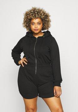 Missguided Plus - ZIP THROUGH HOODED - Jumpsuit - black