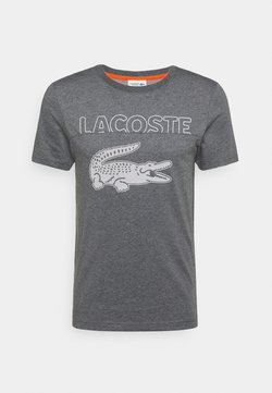Lacoste Sport - LOGO SLOGAN - T-shirt con stampa - gris chine/blanc