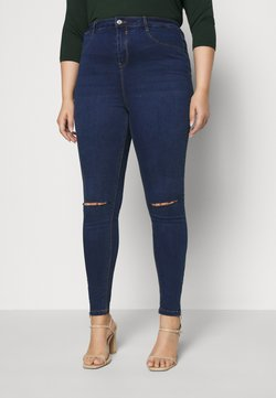 Missguided Plus - LAWLESS HIGHWAISTED SUPERSOFT ANKLE ZIP - Jeans Skinny - deep blue