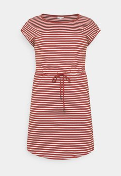 ONLY Carmakoma - CARAPRIL KNEE DRESS STRIPE - Jerseykleid - apple butter/cloud dancer