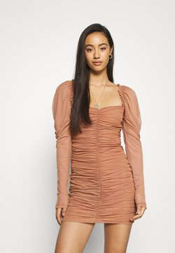 Missguided - LONG SLEEVE DRESS - Cocktail dress / Party dress - tan