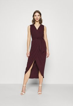 Forever New - LIZA WRAP MIDI DRESS - Etui-jurk - burgundy