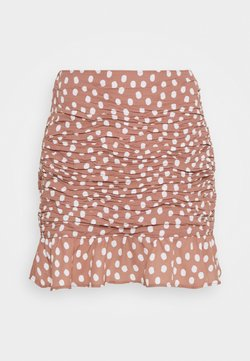 Abercrombie & Fitch - RUCHED MINI - Minirock - burlwood dots