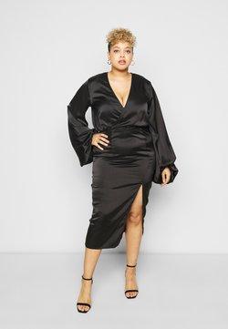 Missguided Plus - BALLOON SLEEVE WRAP FRONT DRESS - Freizeitkleid - black