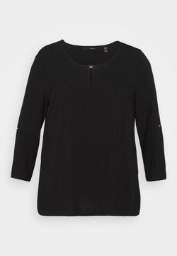 Vero Moda Curve - VMNADS 3/4 FOLD-UP TOP - Bluse - black